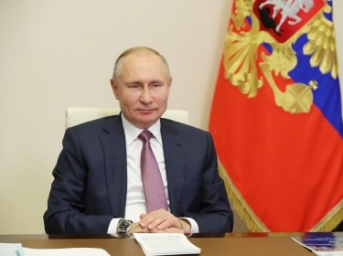 Russia's President Vladimir Putin during a videoconference meeting with members of the Lomonosov Moscow State University Board of Trustees at the Novo-Ogaryovo residence, December 24, 2020, photo by Mikhail Klimentyev/Reuters