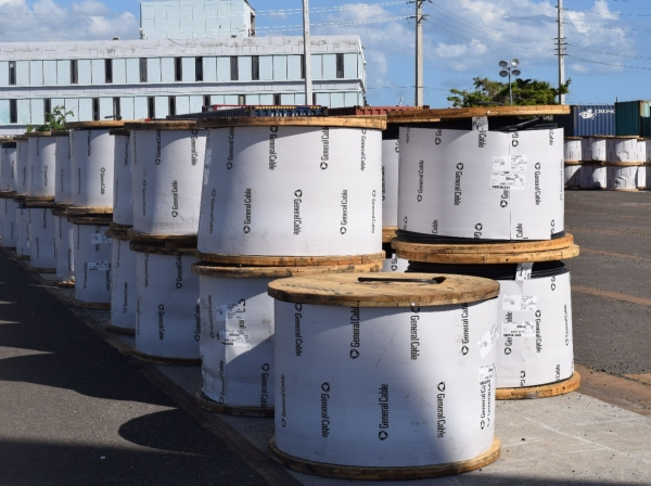 Massive coils of heavy high tension wire to rebuild the island's electrical distribution system arrive at the lay-down yard in this undated photo in Ponce, Puerto Rico, photo by Jerry Rogers/U.S. Army Corps of Engineers