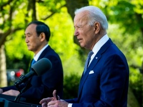 U.S. President Joe Biden and Japanese Prime Minister Yoshihide Suga hold a joint news conference at the White House in Washington, D.C., April, 16, 2021, photo by Doug Mills/Pool/Sipa USA/Reuters
