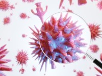 A magnifying glass held up to an enlarged COVID-19 virus