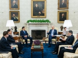 President Joe Biden participates in a restricted bilateral meeting with South Korean President Moon Jae-in in the Oval Office of the White House in Washington, D.C., May 21, 2021, photo by Adam Schultz/Official White House Photo