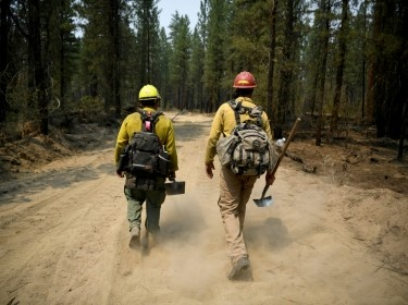 Firefighters mop up hotspots in the northwestern section of the Bootleg Fire in Oregon as it expands to over 210,000 acres, Klamath Falls, Oregon, July 14, 2021, photo by Mathieu Lewis-Rolland/Reuters