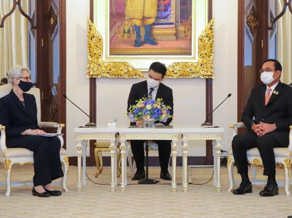 Deputy Secretary of State Wendy Sherman meets with Thai Prime Minister Prayut Chan-o-cha at Government House in Bangkok, Thailand, June 2, 2021, photo by U.S. Embassy Bangkok