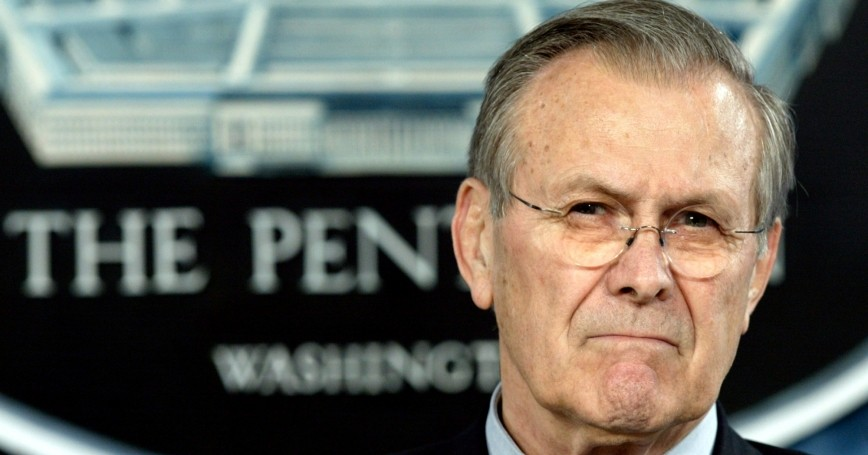U.S. Secretary of Defense Donald Rumsfeld pauses during a news conference at the Pentagon in Washington, D.C., March 29, 2005, photo by Yuri Gripas/Reuters