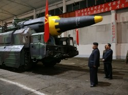 North Korean leader Kim Jong-un inspects a long-range strategic ballistic rocket Hwasong-12 in an undated photo released by North Korea's Korean Central News Agency, May 15, 2017, photo by KCNA via Reuters