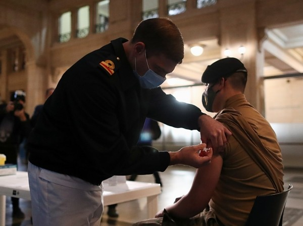 A member of the Armed Forces receives a dose of the COVID-19 vaccine obtained under the COVAX program in Buenos Aires, Argentina, June 15, 2021, photo by Agustin Marcarian/Reuters