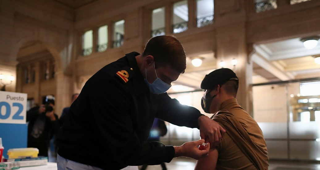 A member of the Armed Forces receives a dose of the COVID-19 vaccine obtained under the COVAX program in Buenos Aires, Argentina, June 15, 2021