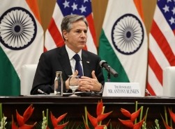 Secretary of State Antony Blinken holds a news conference in New Delhi, India, July 28, 2021, photo by Jonathan Ernst/Reuters
