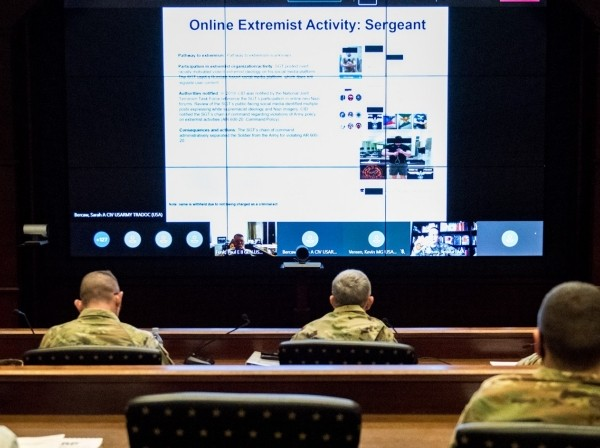 Fort Leonard Wood senior leaders take part in training as part of the U.S. Army Maneuver Support Center of Excellence extremism stand-down in March 2021, photo by Tiffany Wood/U.S. Army