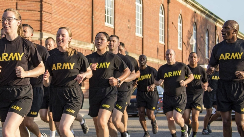 Soldiers assigned to the 3rd U.S. Infantry Regiment, known as 'The Old Guard,' participate in the U.S. Army Birthday Run at Joint Base Myer-Henderson Hall, Virginia, June 14, 2021, photo by Spc. Laura Stephens/U.S. Army