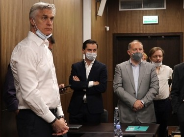 The verdict is announced in the embezzlement trial of U.S. investor Michael Calvey (L) at Meshchansky District Court, Moscow, Russia, August 5, 2021, video still by Moscow City Court/TASSTHIS via Reuters