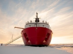 The U.S. Coast Guard Cutter Healy in the ice about 715 miles north of Barrow, Alaska, October 3, 2018, photo by Senior Chief Petty Officer NyxoLyno Cangemi/U.S. Coast Guard