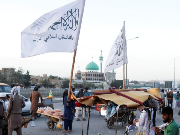 Taliban flags are seen on a street in Kabul, Afghanistan, September 16, 2021, photo by West Asia News Agency via Reuters