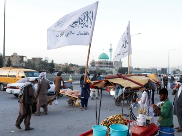 Taliban flags are seen on a street in Kabul, Afghanistan, September 16, 2021, photo by West Asia News Agency vis Reuters