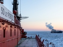 Russian nuclear icebreaker 50 Let Pobedy escorts the LNG tanker Christophe de Margerie in the North Sea Region, March 2, 2021, photo by Rosatom/Pool/Latin America News Agency via Reuters
