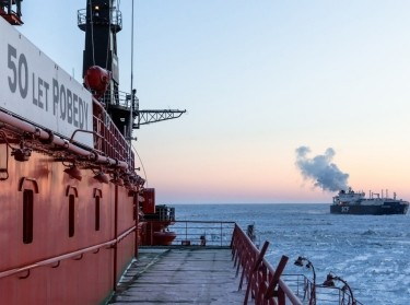 Russian nuclear icebreaker <em>50 Let Pobedy</em> escorts the LNG tanker <em>Christophe de Margerie</em> in the North Sea Region, March 2, 2021, photo by Rosatom/Pool/Latin America News Agency via Reuters