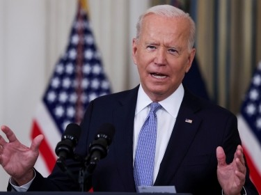 U.S. President Joe Biden responds to a question from a reporter in the State Dining Room at the White House in Washington, D.C., September 24, 2021, photo by Evelyn Hockstein/Reuters