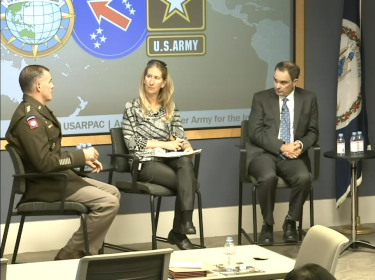 Panellists (l-r) Gen. Charles Flynn, Jennifer Moroney, Michael Mazarr, and Jennifer Kavanagh in a video still from the event, photo by RAND Corporation