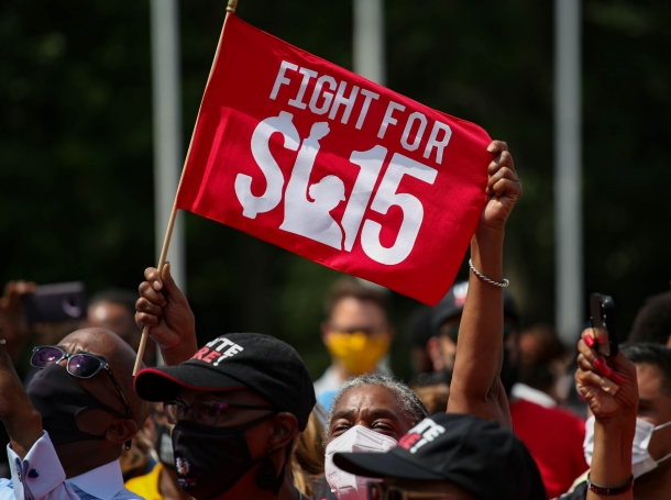 People rally at the Poor People's Campaign Moral Monday demonstration near the U.S. Capitol in Washington, D.C., August 2, 2021, photo by Bryan Olin Dozier/Reuters