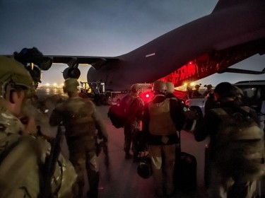 Paratroopers assigned to the 82nd Airborne Division prepare to board a U.S. Air Force C-17 at the Hamid Karzai International Airport in Kabul, Afghanistan, August 30th, 2021, photo by U.S. Army via Reuters