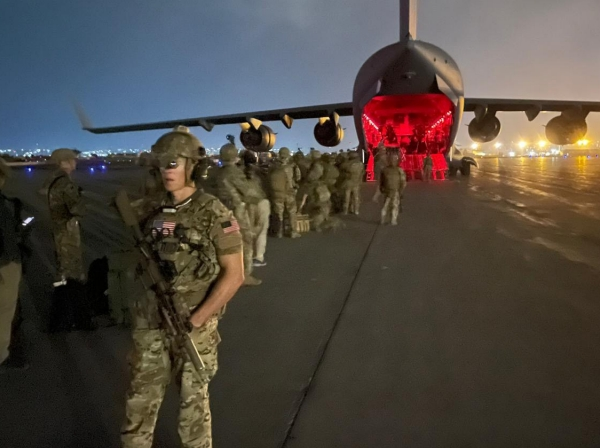 Paratroopers with the 82nd Airborne Division board a U.S. Air Force C-17 at the Hamid Karzai International Airport in Kabul, Afghanistan, August 30th, 2021, photo by Master Sgt. Alexander Burnett, 82nd Airborne Public Affairs/U.S. Army