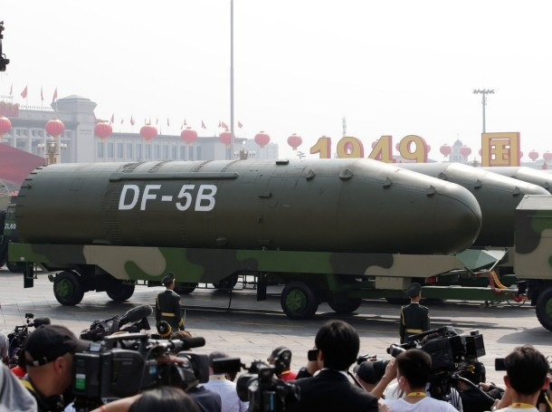 Military vehicles carrying DF-5B intercontinental ballistic missiles in a military parade in Tiananmen Square in Beijing, China, October 1, 2019, photo by Jason Lee/Reuters