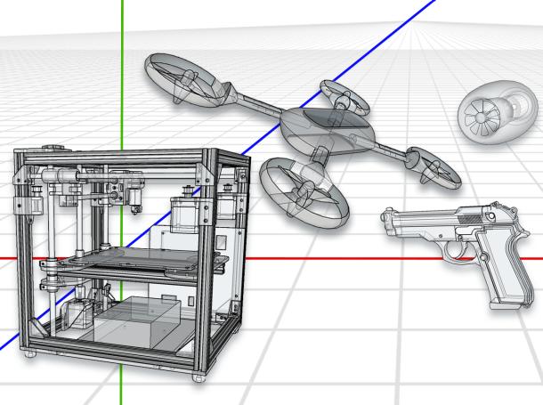 3D printer and printable drone, gun, and airplane turbine.