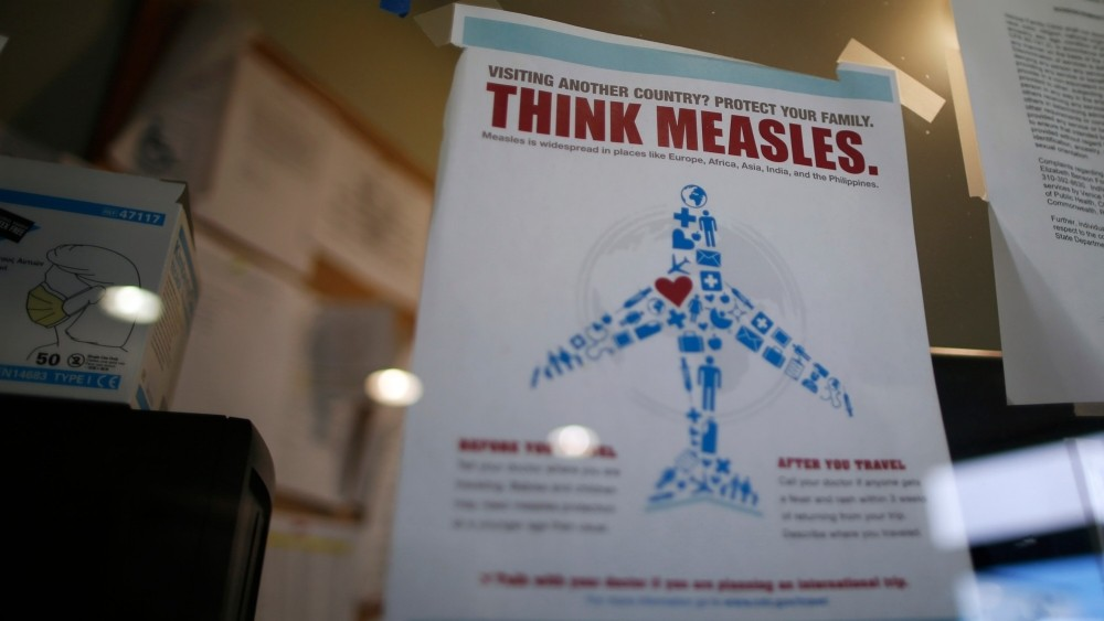 A measles poster at a Venice Family Clinic in Los Angeles, California February 5, 2015.
