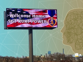 """Billboard that reads, """"Welcome Home SGT KURT POWER"""" and illustration of mental health issues"""