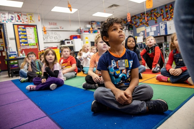 Students take part in a social emotional learning exercise at Brubaker Elementary School in Des Moines, IA, Nov. 8, 2019.