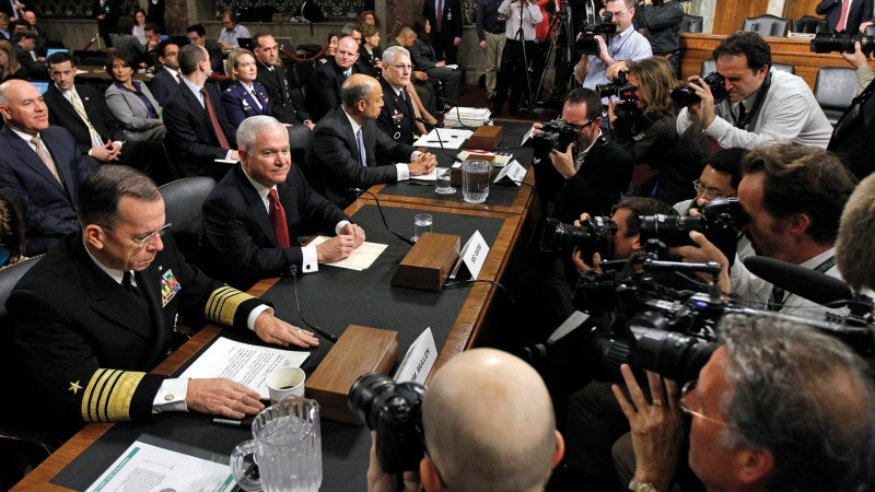 U.S. Joint Chiefs Chairman Admiral Mike Mullen, U.S. Secretary of Defense Robert Gates, Defense Department General Counsel Jeh Johnson, and General Carter Ham