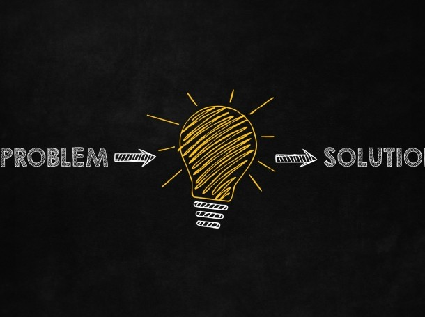 Problem, idea, and solution drawing on a blackboard