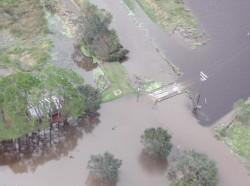 An aerial view of the flooded roads and fields in Louisiana are shown after Hurricane Lili