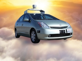 Self-driving vehicle on a cloud: Cloud photo by denis_333/Fotolia; Google Self-Driving Car by Scott Schrantz / CC BY-NC-SA 2.0
