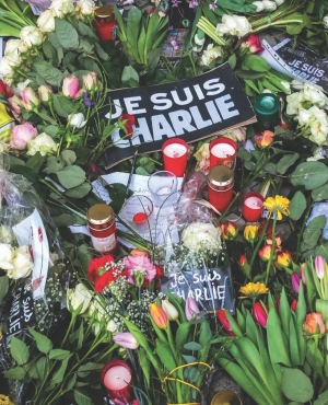 Flowers in front of the French embassy in Germany two days after a terrorist attack on the office of the satirical magazine Charlie Hebdo in Paris