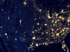 Satellite image of the United States at night