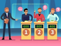 Illustration of a game show with three players and a host, image by Olga Kurbatova/Getty Images