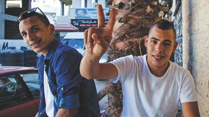 Two young men in Dheisheh refugee camp in the West Bank