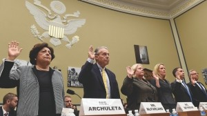 Office of Personnel Management officials are sworn in on Capitol Hill in Washington, Wednesday, June 24, 2015, prior to testifying before the House Oversight and Government Reform Committee hearing on recent cyberattacks