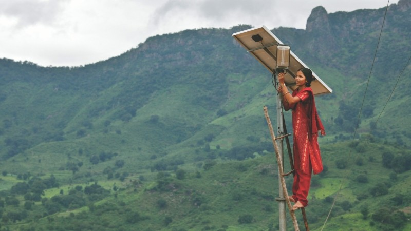 Solar engineer Minakshi Diwan tends to maintenance works in the solar village
