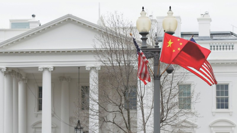 American and Chinese flags in front of the White House during Chinese President Hu Jintao's state visit