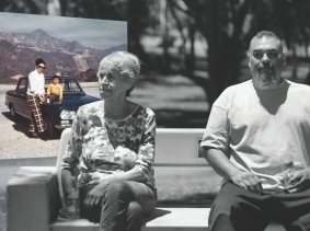 Michael Reyes with his mother, Eleanor, who suffers from dementia