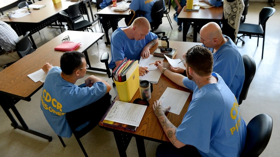 Prisoners in a classroom in Chino State Prison