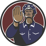 Graphic of policeman holding up his hand