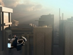 A flying police car hovers past city buildings