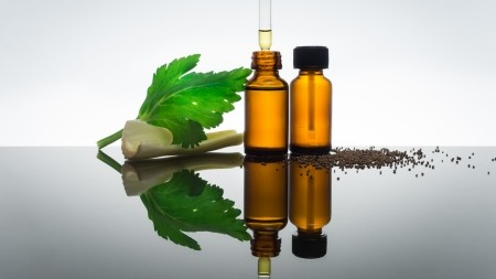 Celery seeds essential oil in amber bottle with dropper, with celery stick, seeds and leaf