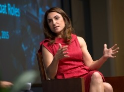 Gayle Tzemach Lemmon speaks at a RAND Policy Circle briefing at RAND's headquarters campus in Santa Monica, California, September 21, 2015