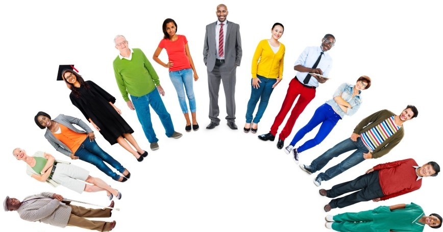 Diverse group of people standing in a circle