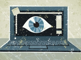 Eyeball on a laptop computer screen
