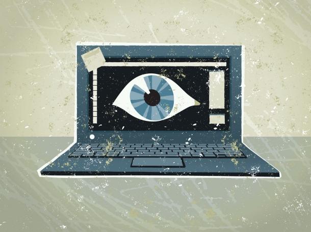 Eyeball on a laptop computer screen